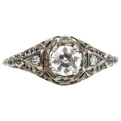 Edwardian Filigree .60 Carat Diamond White Gold Engagement Ring