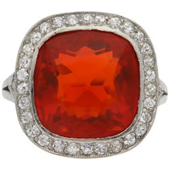 Edwardian Fire Opal and Diamond Coronet Cluster Ring, circa 1915