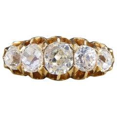 Edwardian Five-Stone 1.85 Carat Old Cut Diamond Ring in 18 Carat Yellow Gold