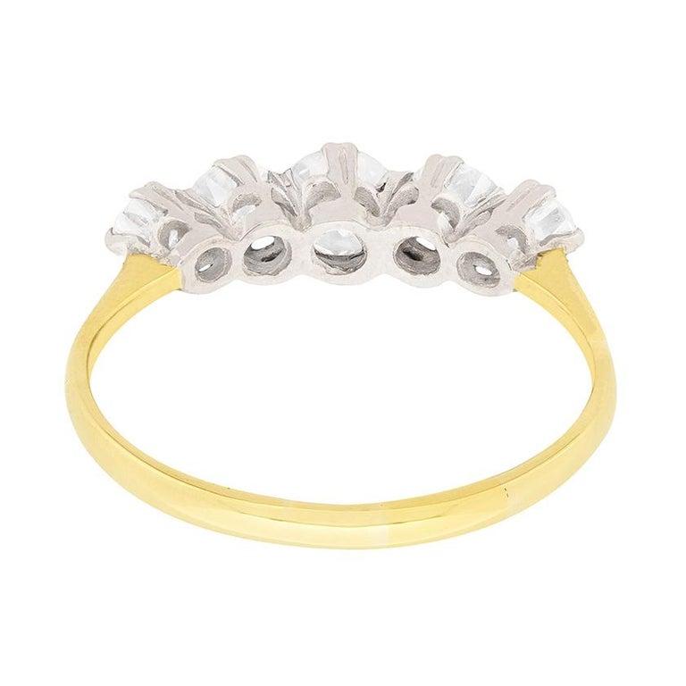 Women's or Men's Edwardian Five-Stone Diamond Engagement Ring, circa 1910 For Sale