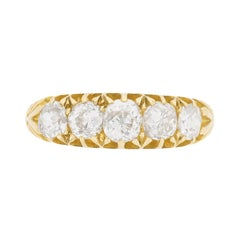 Edwardian Five-Stone Diamond Ring, circa 1900s