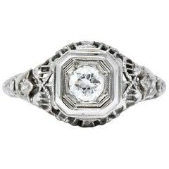Edwardian Floral Diamond 18 Karat White Gold Engagement Ring