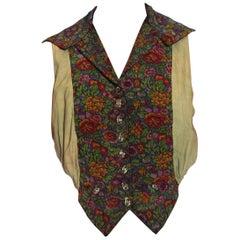 Edwardian Floral Hand Woven Silk & Cotton Ikat Waistcoat Top