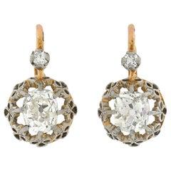 Edwardian French 1.50 Total Carat Diamond Earrings