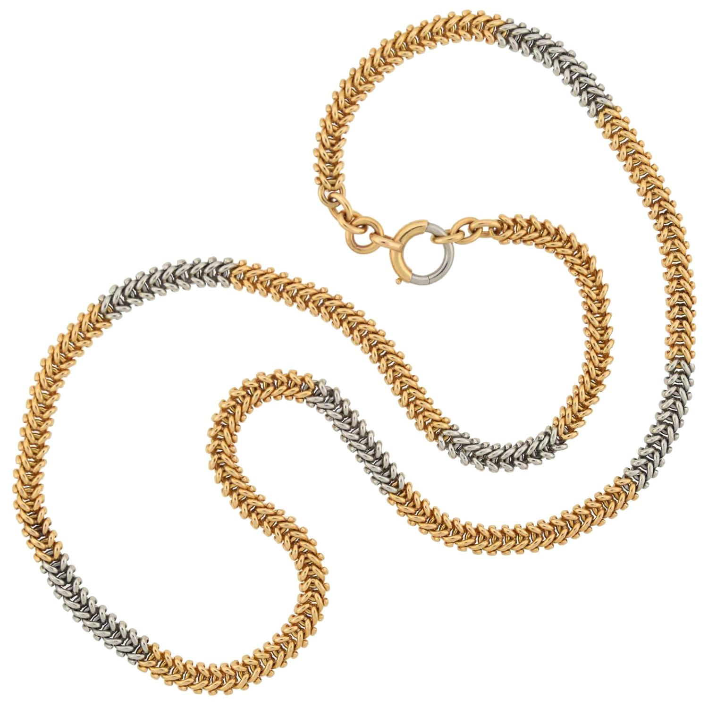 Edwardian French 18 Karat/Platinum Alternating Link Chain Necklace