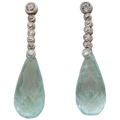 Edwardian French 32.50 Ct Aquamarine Briolette 1.20 Ct Old Mine Diamond Earrings