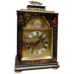 Edwardian French Chinoiserie Decorated Mantel Clock Signed Asprey, London