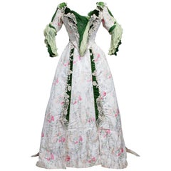 Edwardian French Couture Ball-gown with furbelows on Chiné Silk Circa 1900