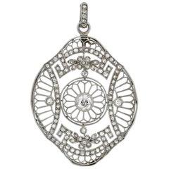 Edwardian French Large 1.05 Total Carat Diamond Floral Motif Filigree Pendant