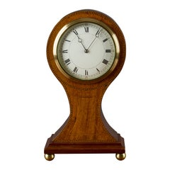 Edwardian French Mahogany Balloon Mantel Clock