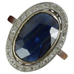 Edwardian French Sapphire and Diamond 18ct White Gold Panel Cluster Ring