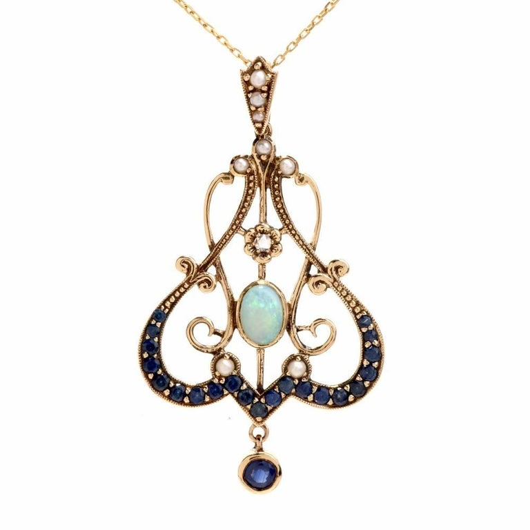 Edwardian Garland Design Sapphire Diamond Opal Pendant Necklace