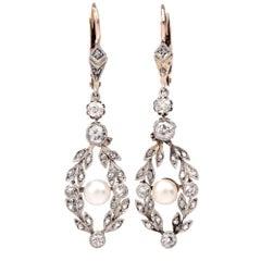 Edwardian Garland Diamond Pearl Pendant Drop Earrings
