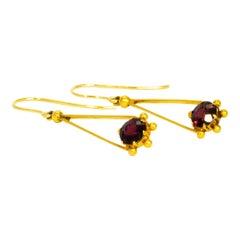 Edwardian Garnet and 9 Carat Gold Drop Earrings