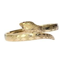 Edwardian Garnet and 9 Carat Gold Snake Bangle