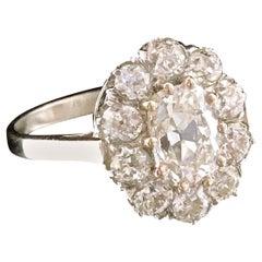 Edwardian GIA 1.52 Antique Cushion Cut Diamond 18 Karat White Gold Ring