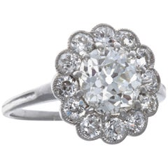 Edwardian GIA 1.73 Carat Diamond Platinum Engagement Ring