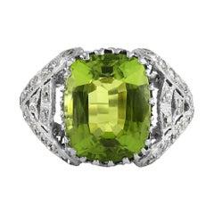 Edwardian GIA 7.87ct Peridot & Diamond Platinum Antique Vintage Ring