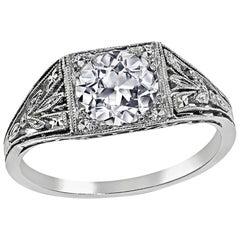 Edwardian GIA Certified 1.02 Carat Diamond Engagement Ring