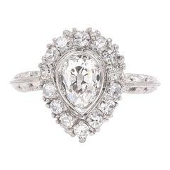 Edwardian GIA Certified 1.10 Carat Antique Pear Shape Diamond Cluster Ring