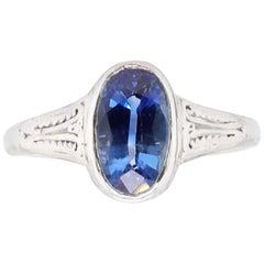 Edwardian GIA Ceylon Sapphire 14 Karat White Gold Ring