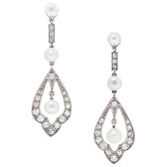 GIA Natural Pearl and Diamond Edwardian Earrings Set in 18 Karat White Gold