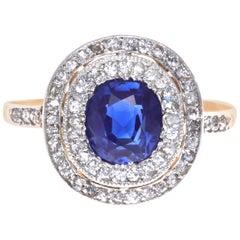 Edwardian GIA Sapphire Diamond 14 Karat Gold Ring