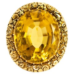 Edwardian Giant Citrine and 9 Carat Gold Ring