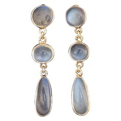 Edwardian Gold and Moonstone Drop Earrings