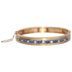 Edwardian Gold Bracelet Diamonds Sapphires 1910 Original Box