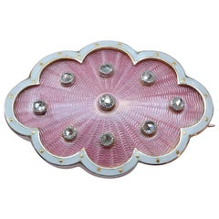 Edwardian Gold Brooch with Pink and White Enamel and Diamond