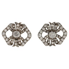 Edwardian Gold Diamond Bow Earrings