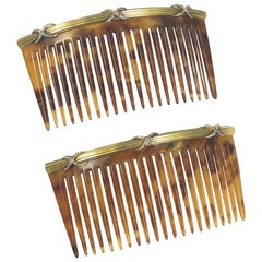 Edwardian Gold Platinum and Diamond Tortoise Shell Hair Combs