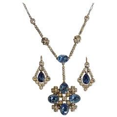 Edwardian Gold Silver Paste Earrings Necklace Set