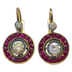 Edwardian Gold Silver Ruby and Diamond Earrings