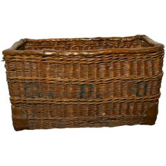 Edwardian G.P.O. Wicker Post or Mail Basket