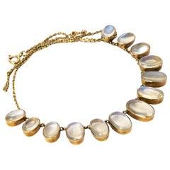 Edwardian Graduated Moonstone Yellow Gold Necklace