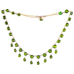 Edwardian Green Stone and Silver Gilt Necklace