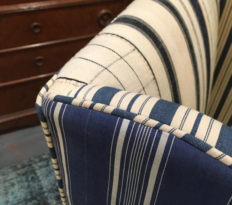 Edwardian Hall Chair in Blue and White Homespun and Ticking For Sale 6
