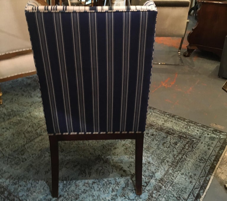 Edwardian Hall Chair in Blue and White Homespun and Ticking For Sale 7