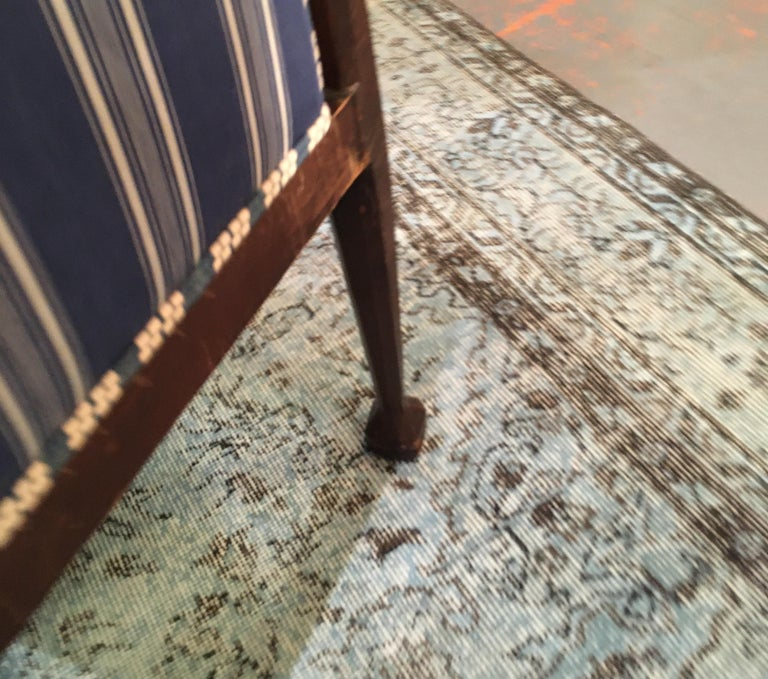 Edwardian Hall Chair in Blue and White Homespun and Ticking For Sale 10