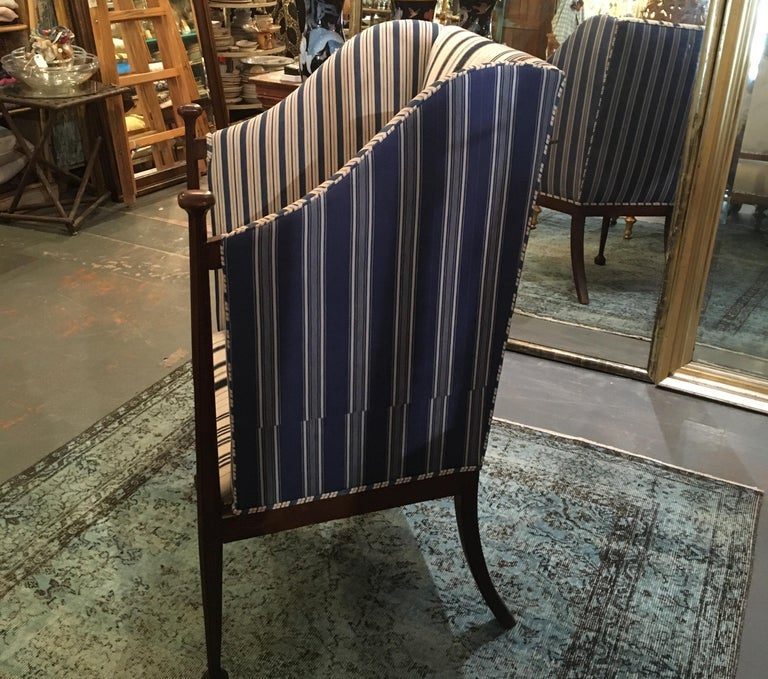 Edwardian Hall Chair in Blue and White Homespun and Ticking In Good Condition For Sale In Seattle, WA