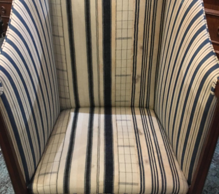 Edwardian Hall Chair in Blue and White Homespun and Ticking For Sale 2
