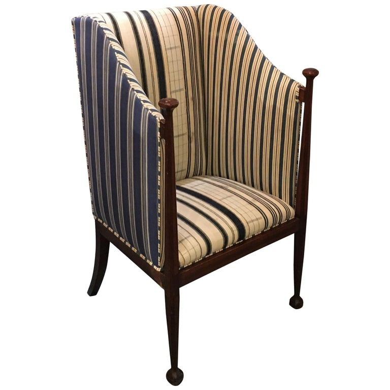 Edwardian Hall Chair in Blue and White Homespun and Ticking For Sale