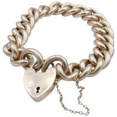 Edwardian Hallmarked 15 Carat Rosy Gold Curb Link Bracelet