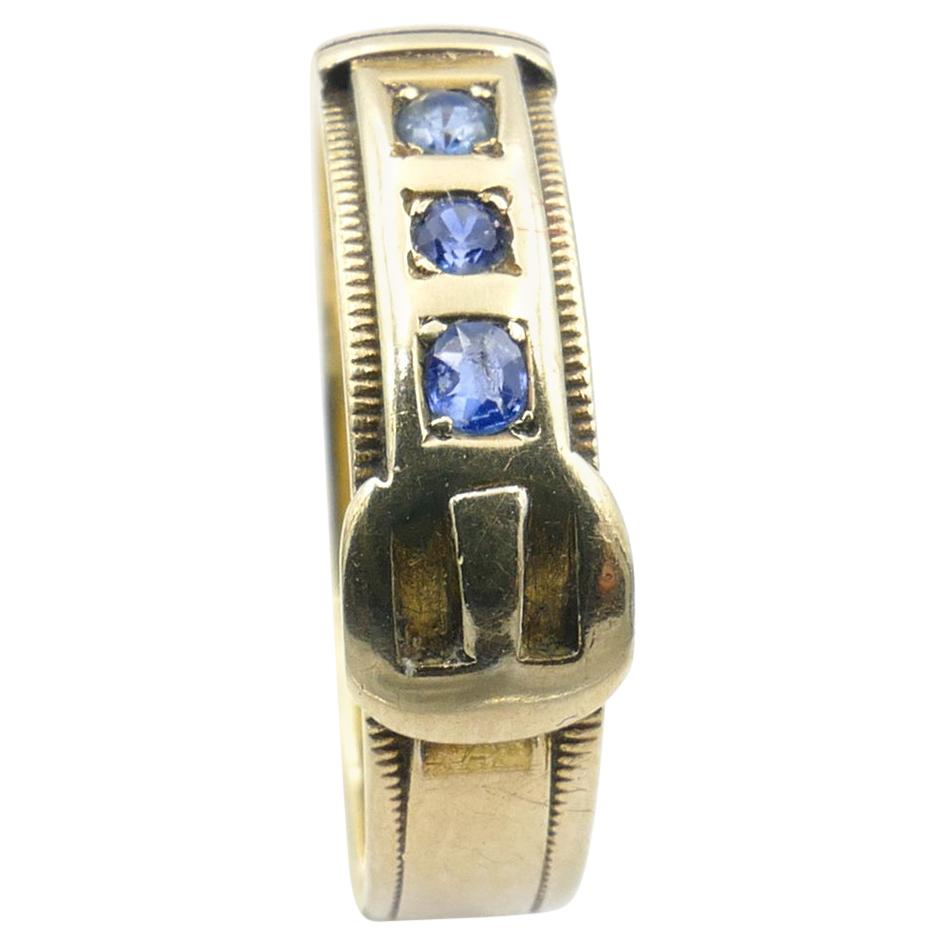 Edwardian Hallmarked 3 x Sapphire 18ct Yellow Gold Buckle Ring