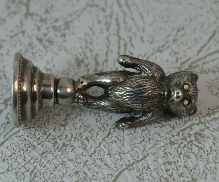 Edwardian Hallmarked Silver Teddy Bear Table Desk Seal For Sale 5