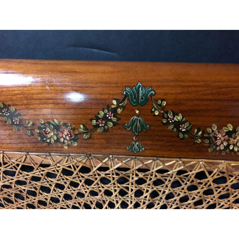 Edwardian Hand Painted and Caned Wood Twin Bed Frame For Sale 1