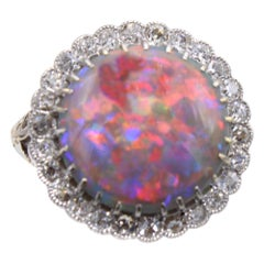 Edwardian Harlequin Australian Black Opal Diamond 18 Karat Gold Ring