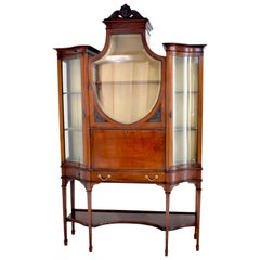 Edwardian Hepplewhite Revival Mahogany Secretary Desk/China Cabinet, circa 1890